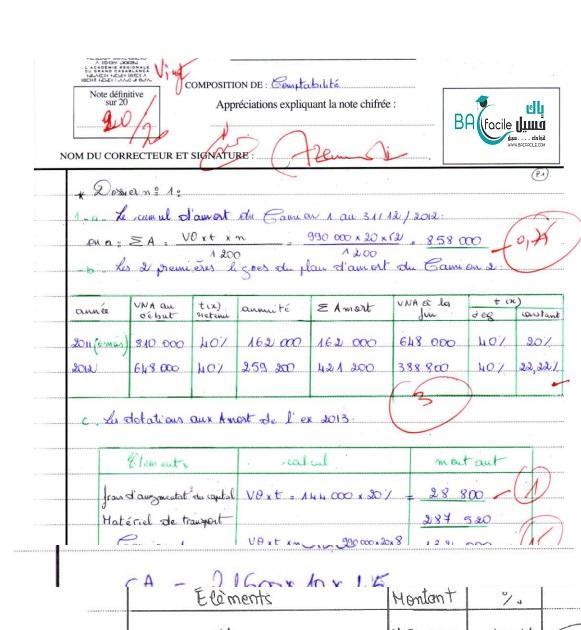 الامتحان الوطني في مادة المحاسبة 2014 الدورة العادية + التصحيح + عمل مميز 20/20 – مسلك علوم اقتصادية